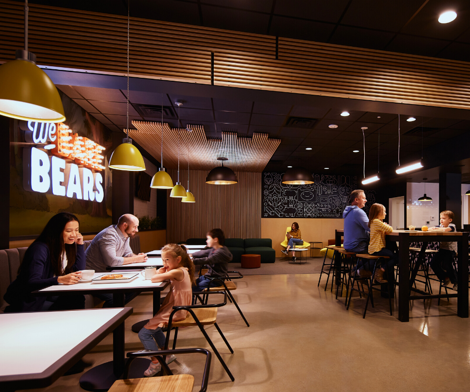 Guests sitting and interacting in the Bearista Cafe