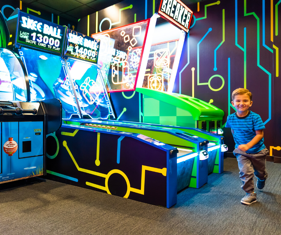 Boy running in the Ben 10 Omincade arcade
