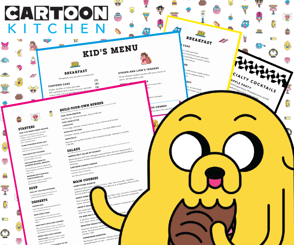 Illustration of Jake the Dog holding a sandwich in front of restaurant menus