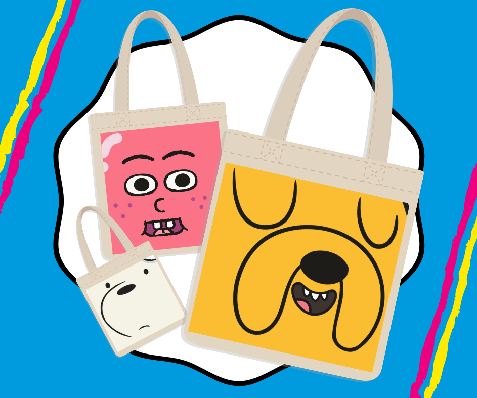 Tote bag illustrations with Cartoon Network characters on them