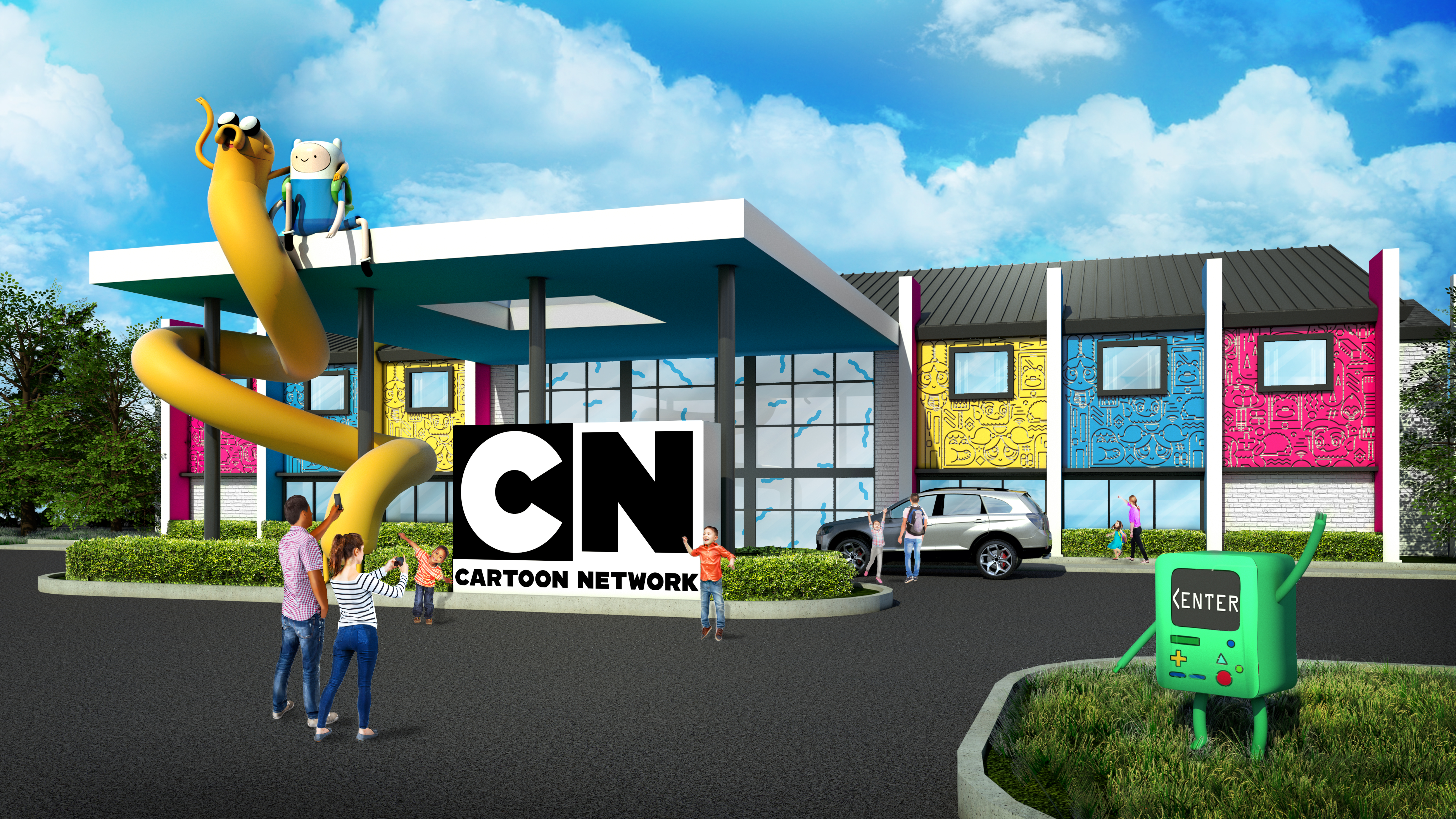 Rendering of the front of the Cartoon Network Hotel