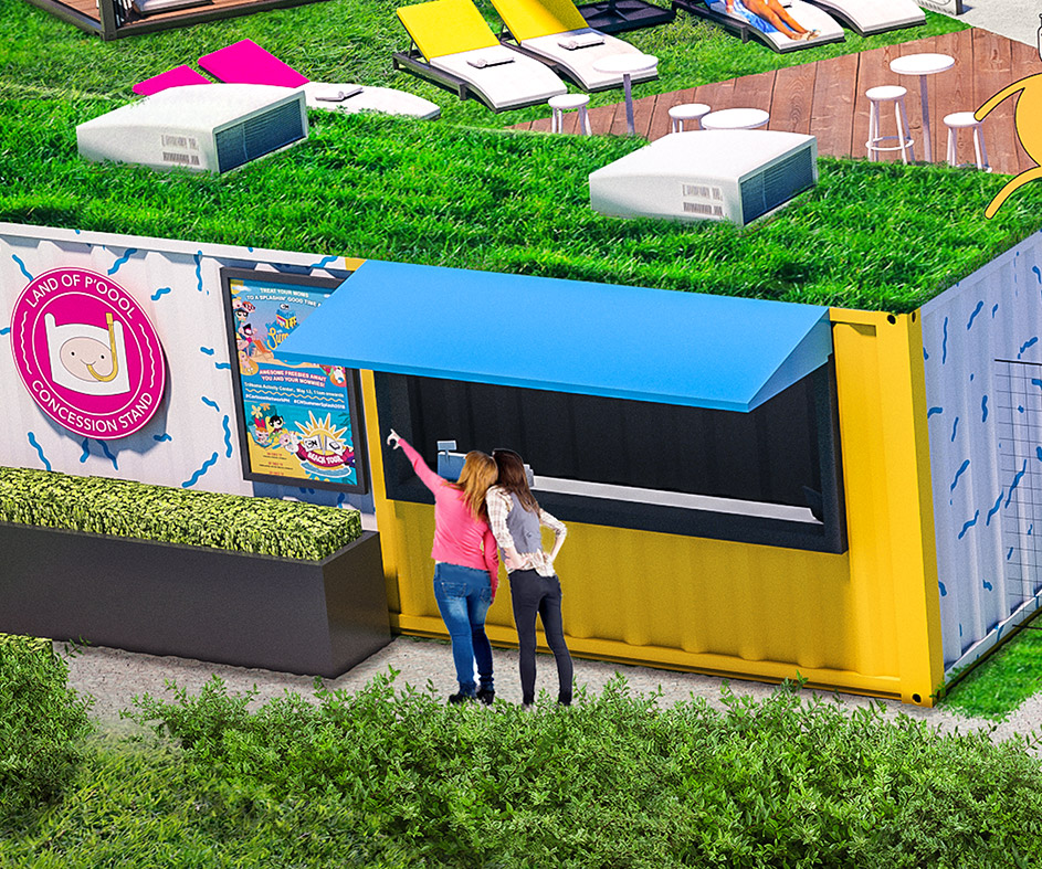 Render of the Land of P'Oool Concession Stand