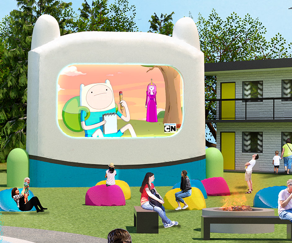 Render of giant Finn the human shaped movie screen