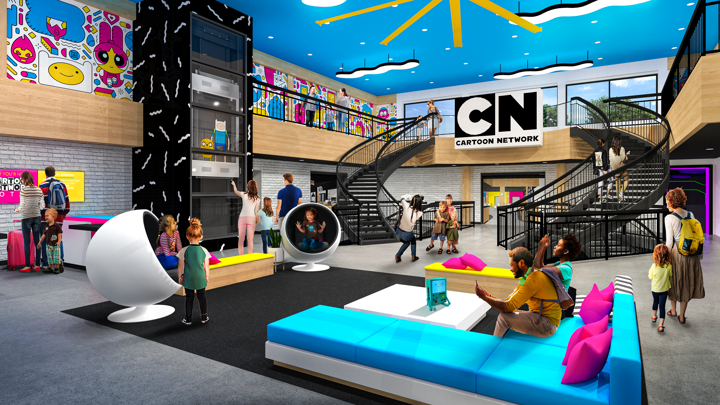Rendering of the lobby of the Cartoon Network Hotel