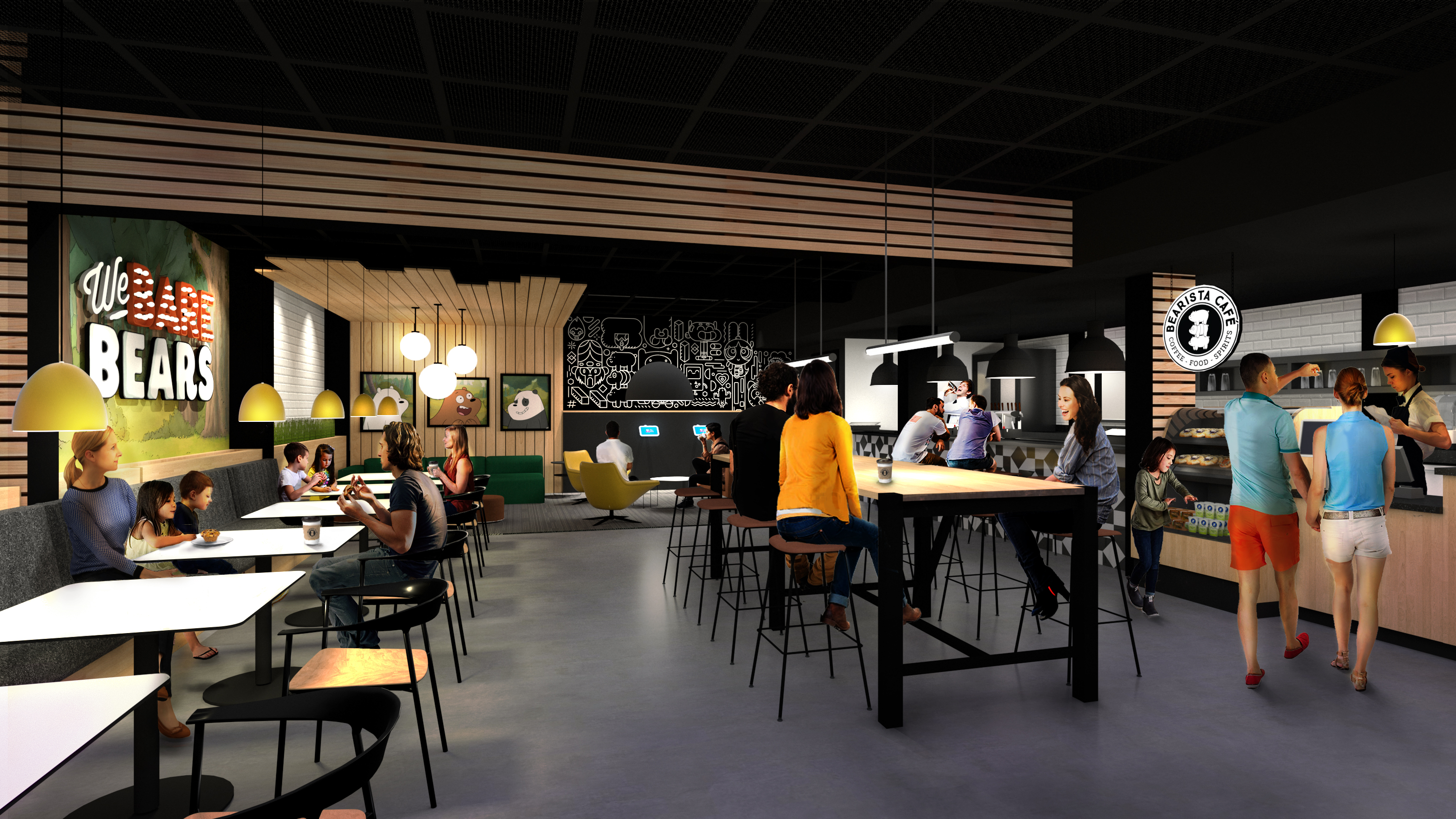 Rendering of the Bearista Cafe at the Cartoon Network Hotel