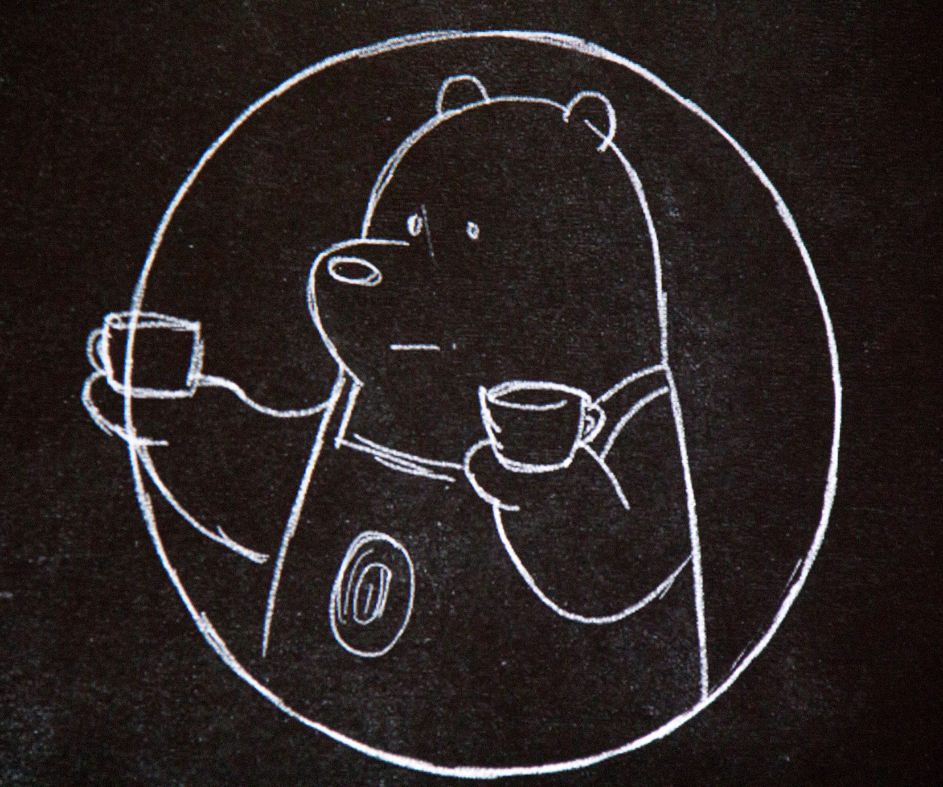 Drawing of Ice Bear holding two coffee cups
