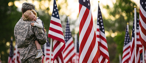 Soldier and young girl standing among American flags