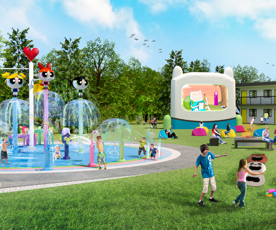 Render of the Backyard at the Cartoon Network Hotel
