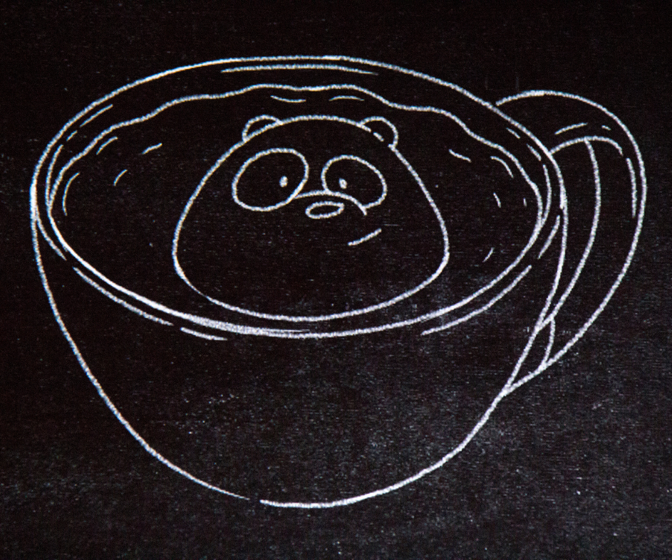 Drawing of Panda in a coffee cup